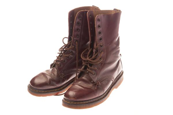 a pair of classic cherry red 10 eyelet DM Doc Martens Shelly AirWair women's leather boots