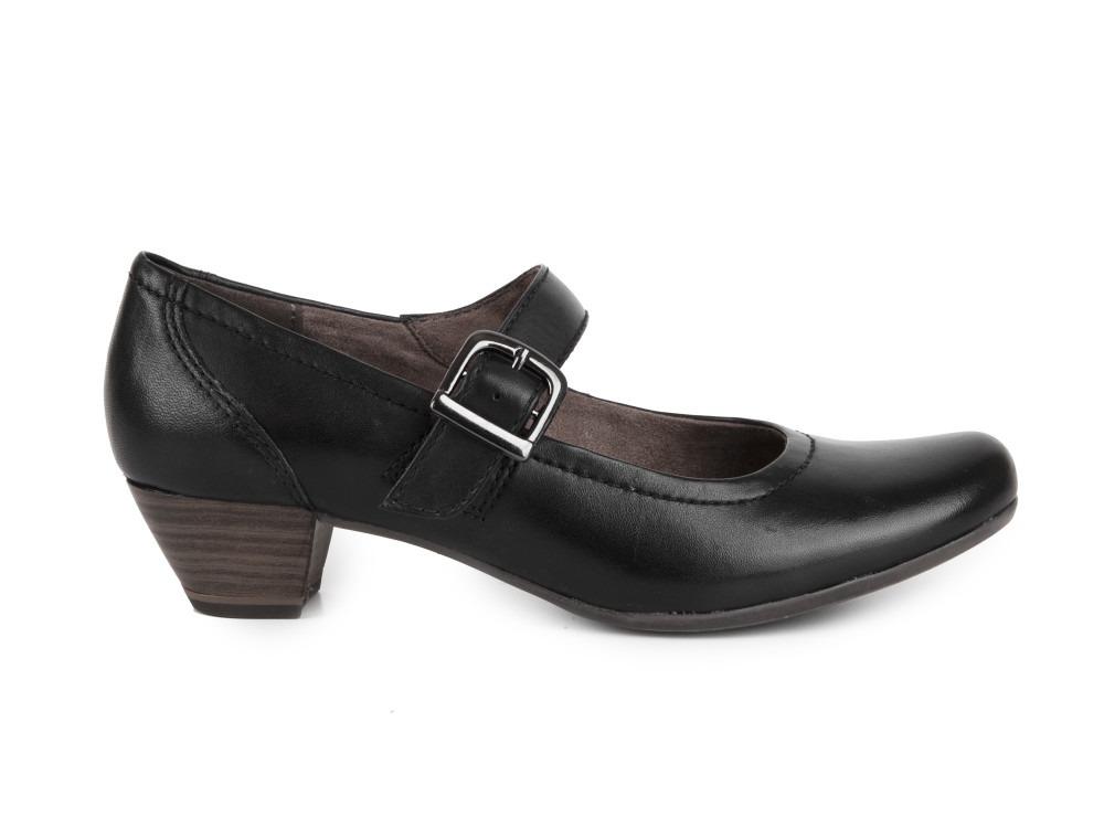 Černé lodičky značky Tamaris se středním podpatkem vysokým 7 cm.