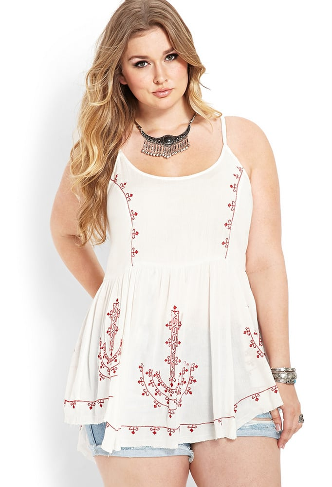 Embroidered-Peasant-Tunic-at-Forever-21-Plus-Sizes