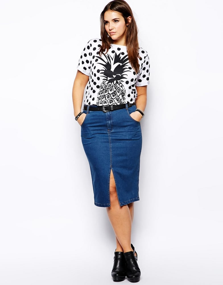 Polka-Dot-and-Pineapple-Print-ASOS-CURVE-T-Shirt