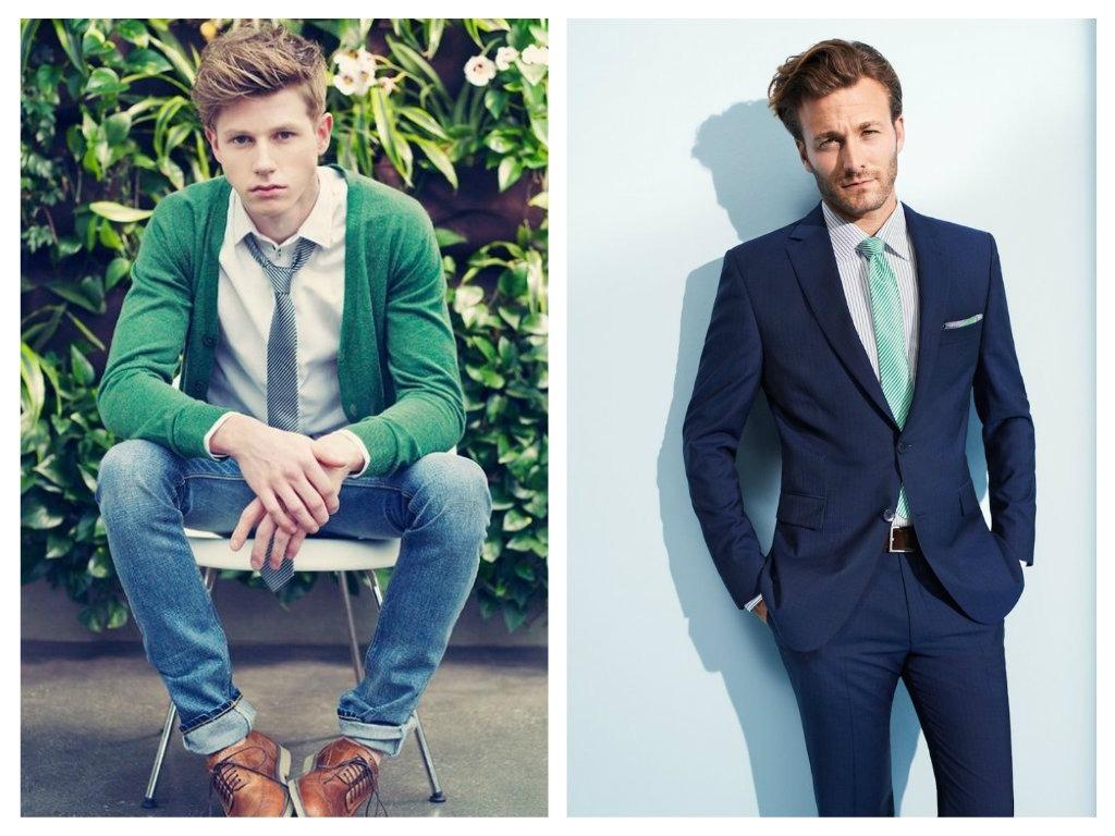 Modrá a zelená kombinace - pánské fashion trendy 2015