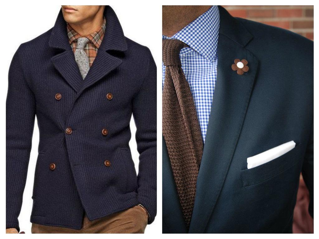 Navy modrá a hnědá kombinace - pánské fashion trendy 2015