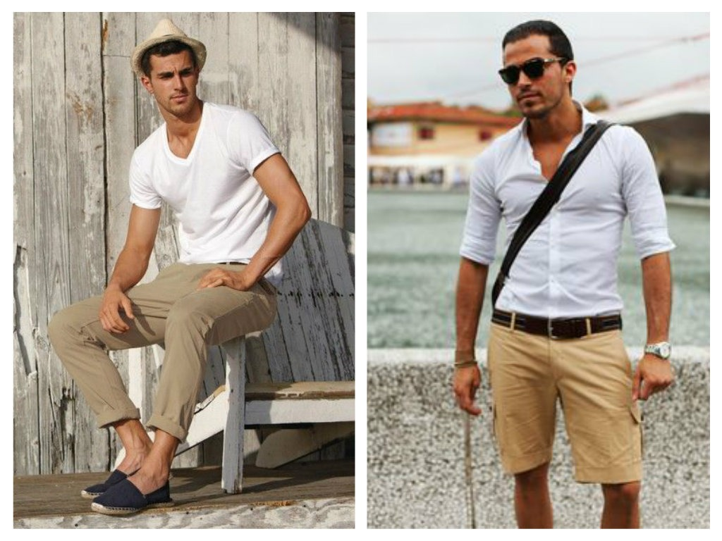 Bílá a khaki kombinace - pánské fashion trendy 2015